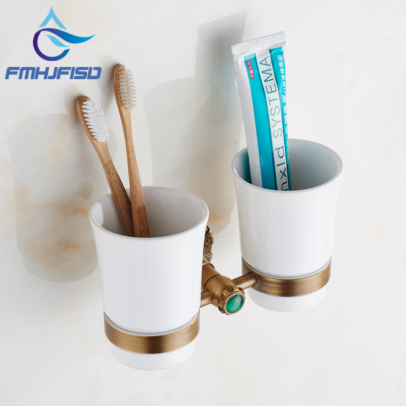 2017 New Arrival Antique Brass Toothbrush Holder W/ Two Ceramic Cup Wall Mounted new bullet head bobbin holder with ceramic tube tip protecting lines brass copper material