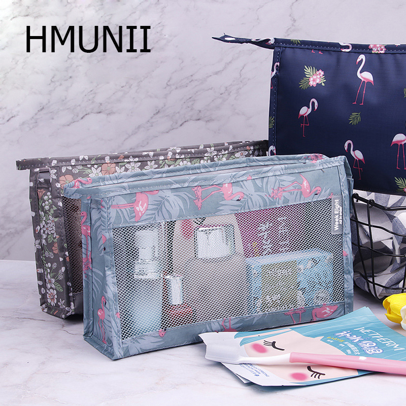HMUNII Makeup Bag/Travel Cosmetic Bags/Brush Pouch Toiletry Kit Fashion Women Organizer Hard Drive Carry Case Travel Accessories