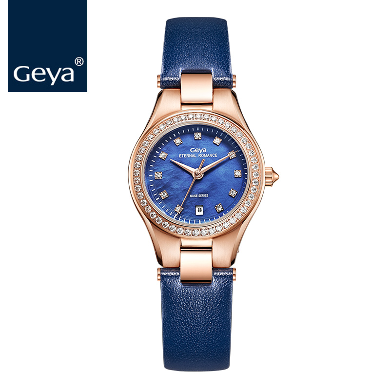 f3c80076e Geya اليابان Miyota حركة النساء ساعة اليد Fashioh جلدية فاخرة سيدة كوارتز اللباس  ساعة الصلب سوار الأزرق أنث.