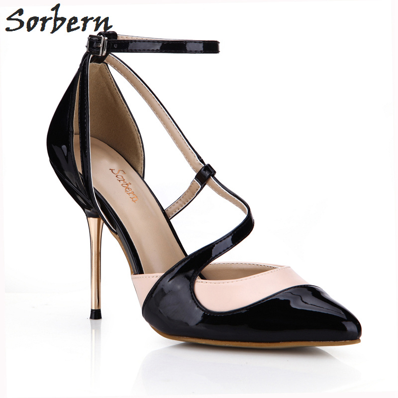 Sorbern Women Pumps Pointed Toe High Heels Size 43 Gold Metal Heels Buckle Strap Pumps Women Shoes Ladies Dress Shoes 2017
