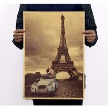 Gran oferta de París Torre Eiffel Vintage cartel retro nostalgia de papel Kraft cartel viejo cartel para pared decorativa pegatina 42X30CM