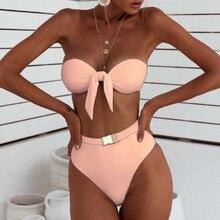 Женский купальник с высокой талией, бандаж для девушек, пуш-ап, пляжный купальник, сексуальный бикини для женщин, бикини размера плюс, купальный костюм, 19Apr25