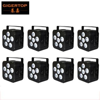 Бесплатная доставка, черный Рисунок, 8 шт., 6x18 Вт, RGBWY UV 6IN1, беспроводной пульт дистанционного/инфракрасного управления, перезаряжаемая литие...