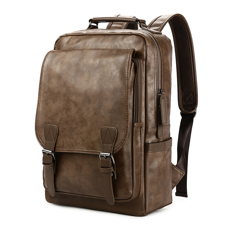 New Luxury School Backpack Waterproof Leather Backpack For Laptop Men Travel Teenage Student Backpack Bag Male Bagpack Mochila in Backpacks from Luggage Bags