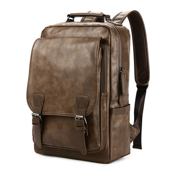 New Luxury School Backpack Waterproof Leather Backpack For Laptop Men Travel Teenage Student Backpack Bag Male Bagpack Mochila 2018 new oiwas laptop business backpack lightweight waterproof traval backpack solid color two colors for male bag