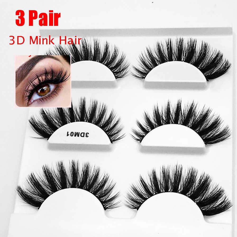 fca1163a5e6 ... 3 Pairs 3D Mink Hair False Eyelashes Handmade Thick Long Cross Lashes  Fluffy Mink Eyelash Natural ...