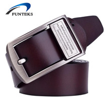 FUNTEKS 2017 High Quality Designer Belts Men Cow Genuine Luxury Leather Men Belts For Men Strap Male Pin Buckle Ceinture Homme