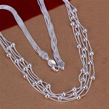 Free Shipping Wholesale silver plated Necklaces Pendants 925 jewelry silver Filve Line Beads Necklace SMTN213