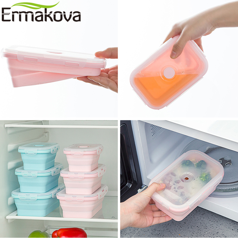 ERMAKOVA 3 or 4 Pcs Silicone Collapsible Lunch Bento Box Heat-Resistant Folding Food Storage Container with Airtight Plastic LidERMAKOVA 3 or 4 Pcs Silicone Collapsible Lunch Bento Box Heat-Resistant Folding Food Storage Container with Airtight Plastic Lid