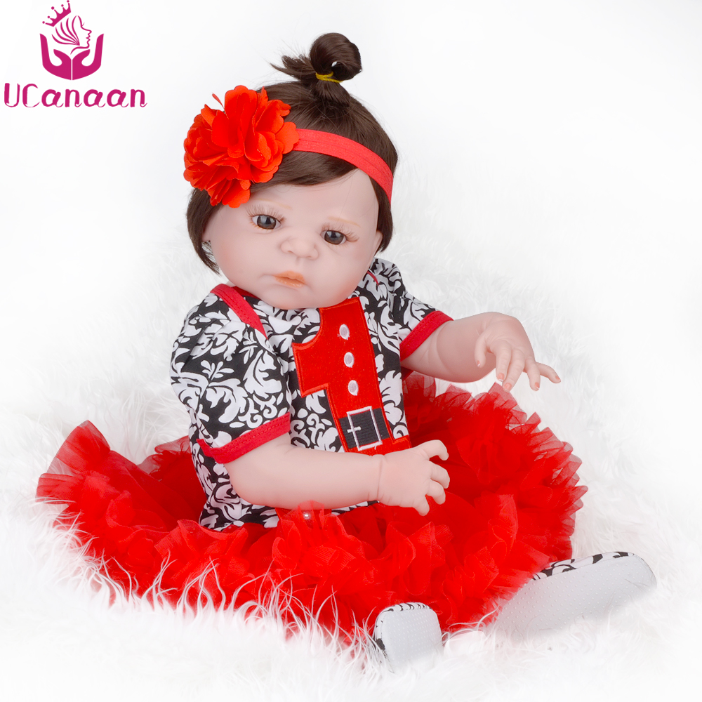 UCanaan 22Inch 55CM Silicone Reborn Baby Dolls Brown Eyes Full Long Hair Girls Doll Baby Born Alive Toys For Children Juguetes ucanaan 1 3 bjd doll reborn girls dolls 19 jointed body chinese style maxi long dress wig makeup dressup diy sd kids toys