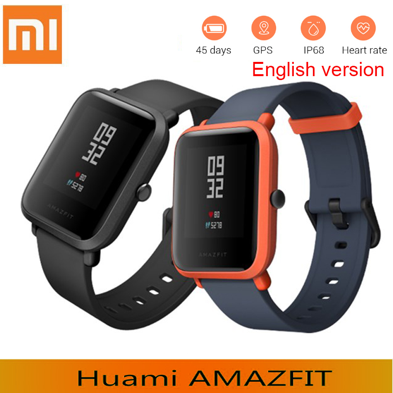 English Version Xiaomi Smart Watch amazfit Bip GPS Tacker Heart Rate monitor IP68 Waterproof watch Xiaomi watch For Android IOS