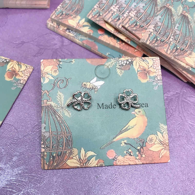 20PCS Color Kraft Paper Ear Studs Card Hang Tag Jewelry Display Earring Marking Garment Prices Label Tags packaging Accessories