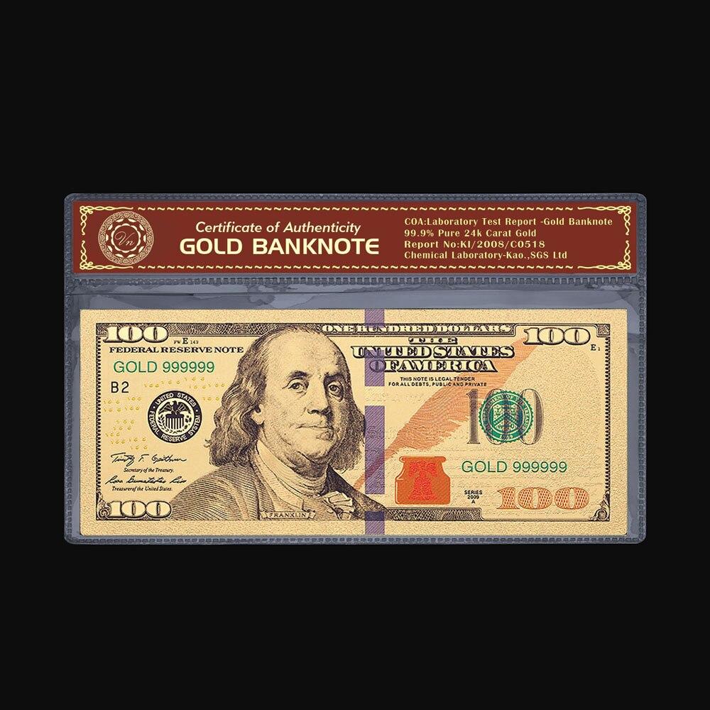 Американские сувениры, красочные позолоченные банкноты, $100, мировая валюта, бумажные украшения для банкнот, поделки