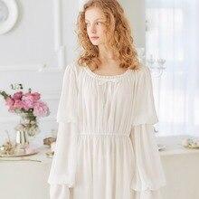 Women Sleepwear Vintage Nightgown Nightshirt 2017 New Fashion Sleepwear Long Dress Ladies Royal Nightwear