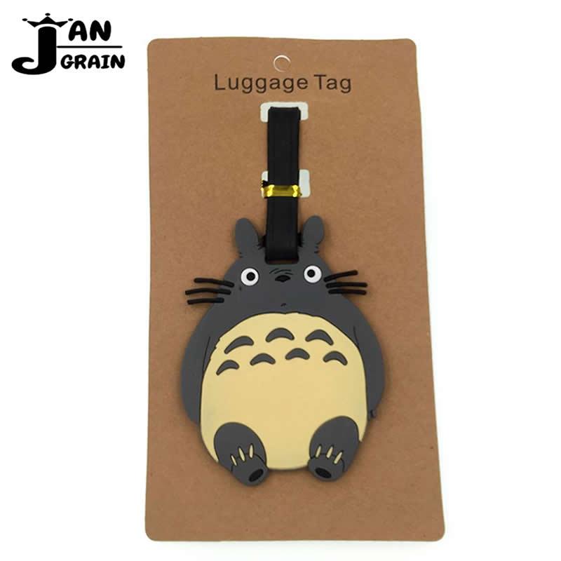 Cartoon Cute Totoro Luggage Tag Travel Accessories Silica Gel Suitcase ID Address Holder Baggage Boarding Tag Portable Label