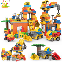 DIY Big Size Engineering Excavator bulldozer Building Blocks Compatible Legoed Duploed City Construction brick Toys For Children