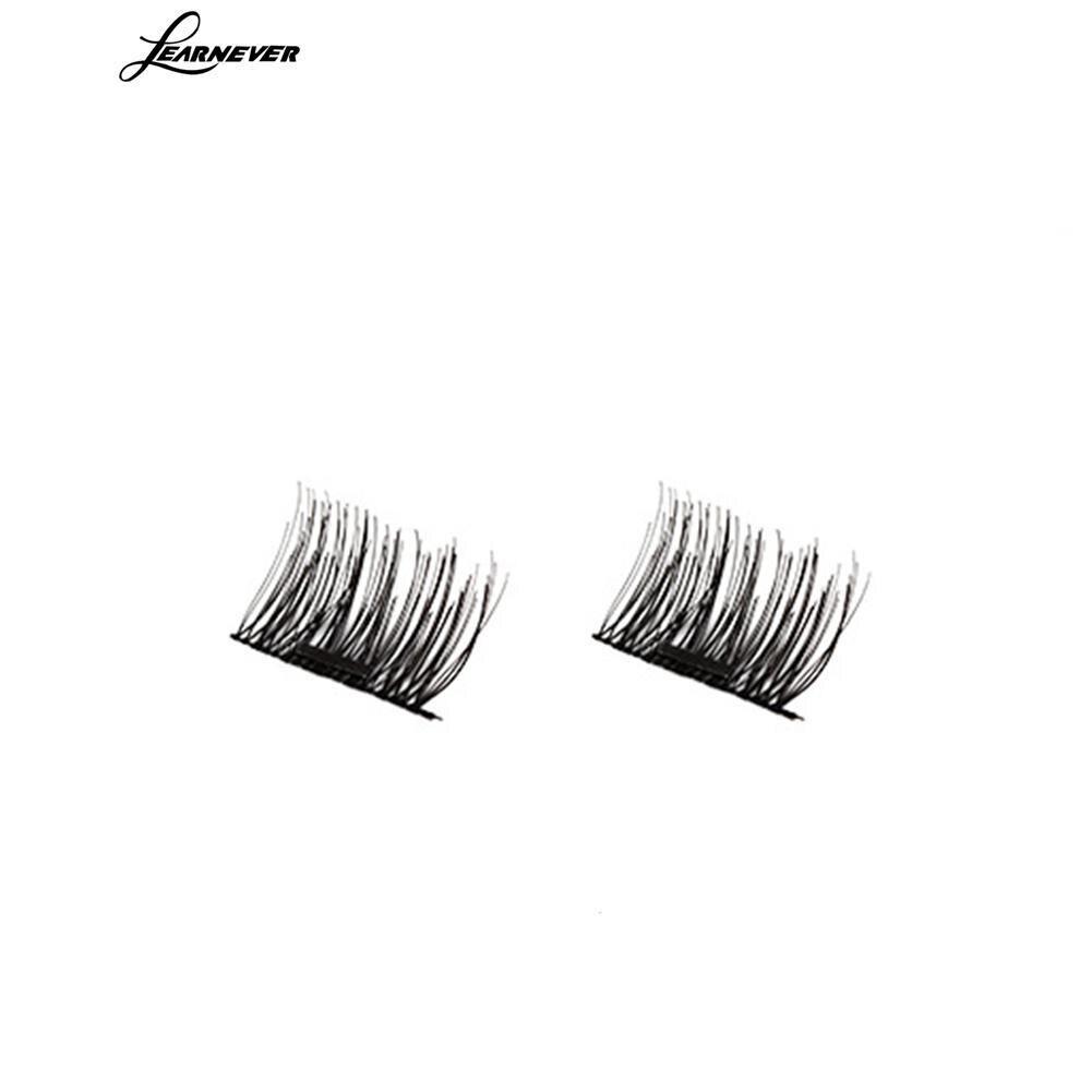 LEARNEVER 4pcs 3d Magnetic False Eyelashes Pure Manual