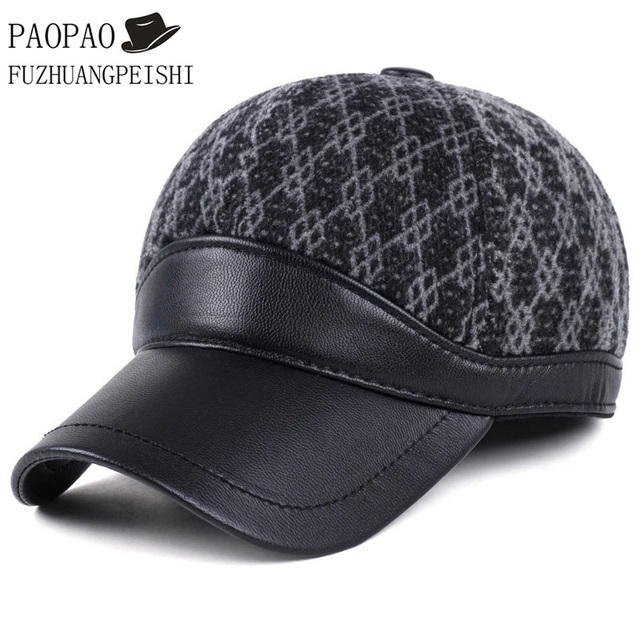 2016 High Quality Brand Maone Baseball Cap Sports Golf Snapback Winter Outdoor Wool Faux Leather Brim Hats For Men