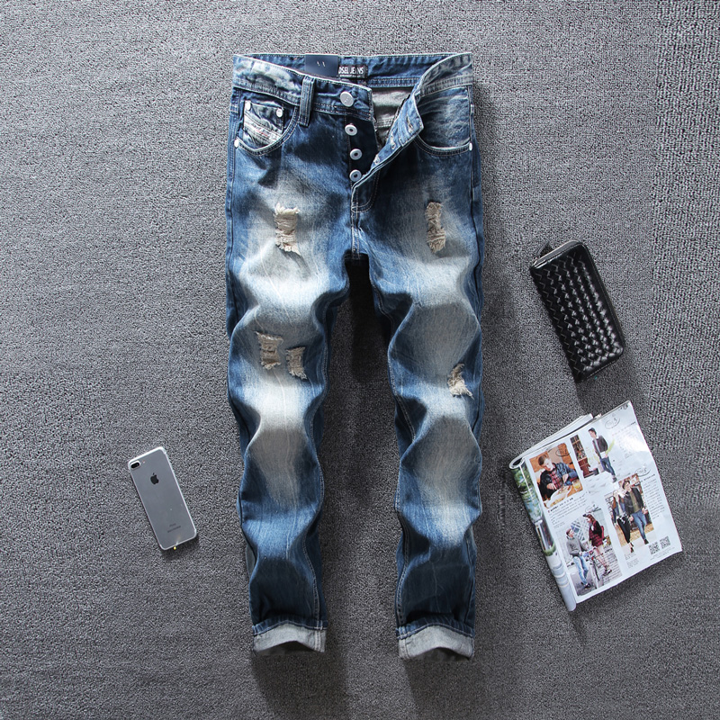Italian Style Fashion Mens Jeans Blue Color Denim Ripped Jeans For Men Buttons Pants Straight Fit DSEL Brand Biker Jeans Homme