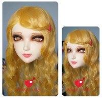 (DM007) Kadın Tatlı Kız Reçine Yarım Baş Kigurumi BJD Maske Cosplay Japon Anime Rol Lolita Gerçekçi Gerçek Maske Crossdress Doll