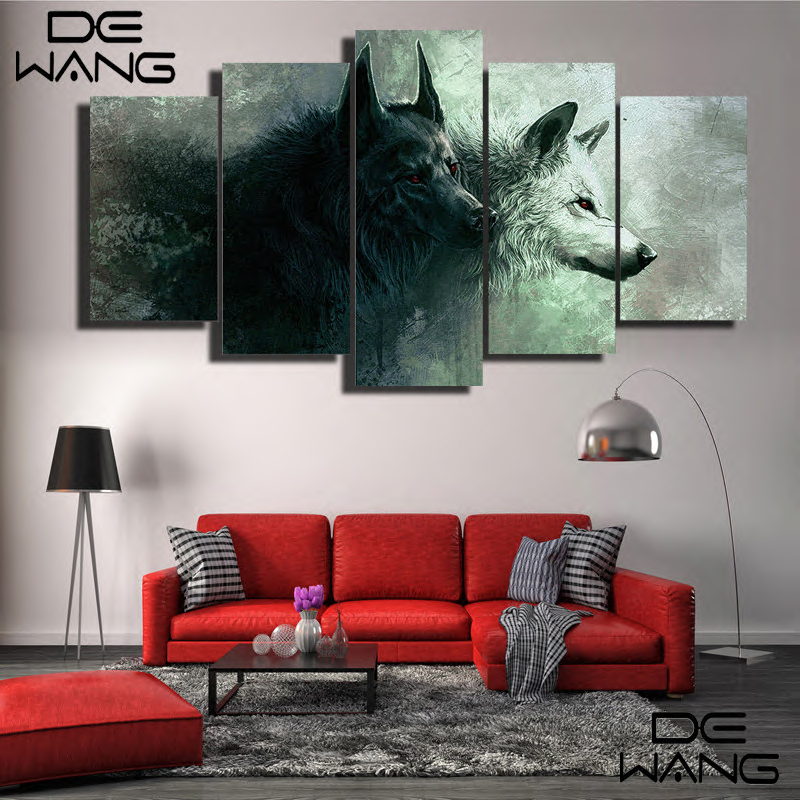 5 piece canvas art abstract set animal movie wolf painting prints moon wolf canvas art print. Black Bedroom Furniture Sets. Home Design Ideas