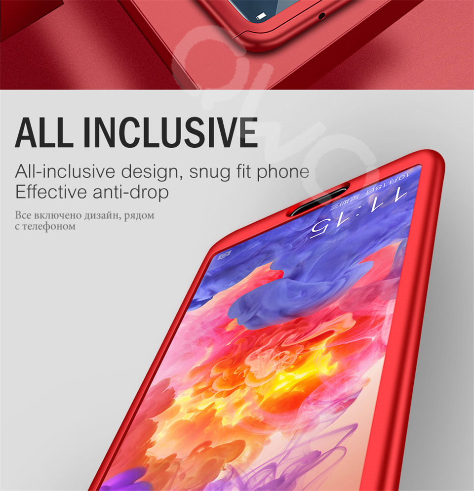 360 Degree Full Protective Phone Case For Huawei P20  P20 Lite P20 Pro Cover Case For Huawei P20 Lite P10 P10 Lite P10 Plus Mate 10 Lite Mate 10 Pro Matte Shell Tempered Glass 2