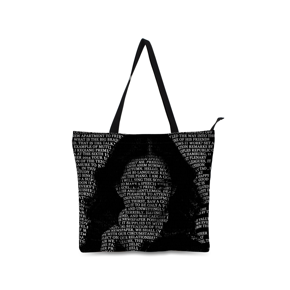 Us 11 83 26 Off Top Ing Por Extra Large Capacity Reusable Perforated Tote Bag Canvas Ping For S Black Character Prints In