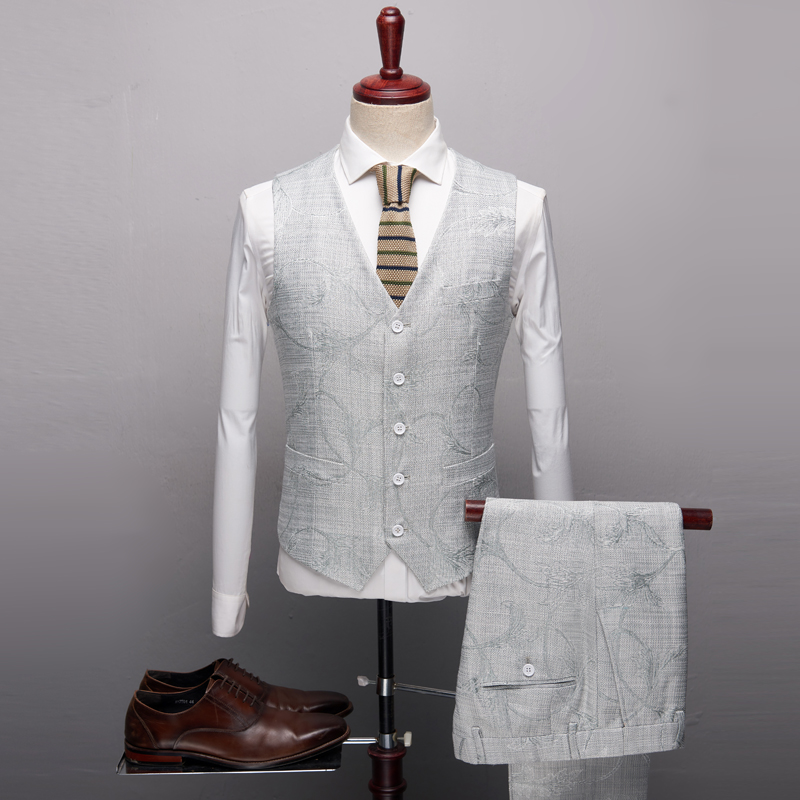 Costume Mariage blanc Slim Pantalon Plein D'affaires Coton Casual Costumes Mode De Broderie Lin Hommes Robe Gilet Bleu En Fit veste q8XwfWBOHf
