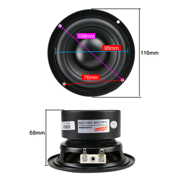 GHXAMP 4 Inch Woofer Subwoofer Speaker Unit 4ohm 40W Polymer Cap Long Stroke Rubber For Computer Multimedia Speaker Upgrade 1PC 6