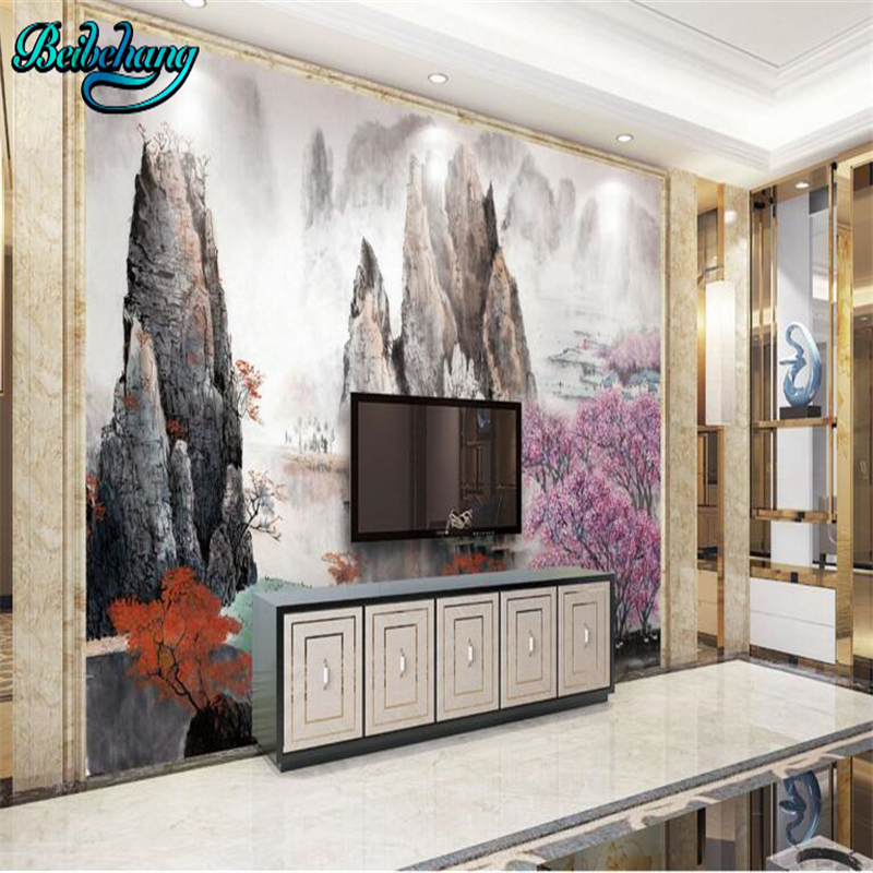 Wallpaper For Lounge Wall Part - 27: Beibehang New Chinese Ink Brush Landscape Lounge Wall Background Wall  Custom Wallpaper Mural-in Wallpapers From Home Improvement On  Aliexpress.com | Alibaba ...