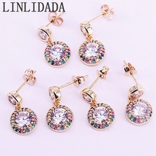 6Pairs, Gold Color Copper Rainbow Cubic Zirconia CZ Paved Round Dangle Earrings Womens Party Fashion Jewelry