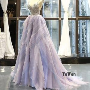 Image 2 - 2020 elegante vestido de noite feminino glitter gem deep v pilha dobre rendas sem mangas spagheti cinta formal festa vestidos de noite