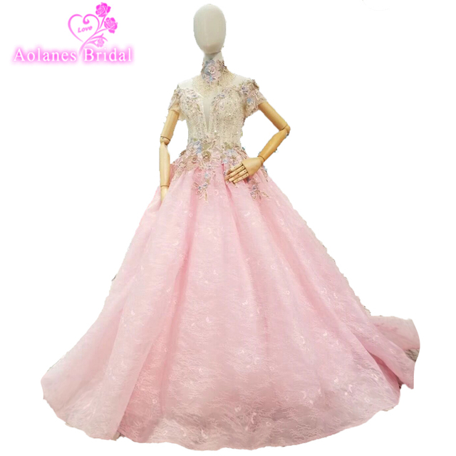 2018 Sexy Long Prom Dresses Light Pink High Neck Sparking Beading Tulle  Lace Formal Evening Dresses 0a4ecb04efbf