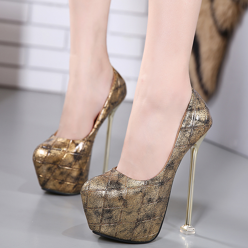 ФОТО Brand Shoes Woman High Heels Pumps Gold High Heels 16CM Women Shoes High Heels Platform Shoes Pumps Black Gold Shoes Heels ZH200