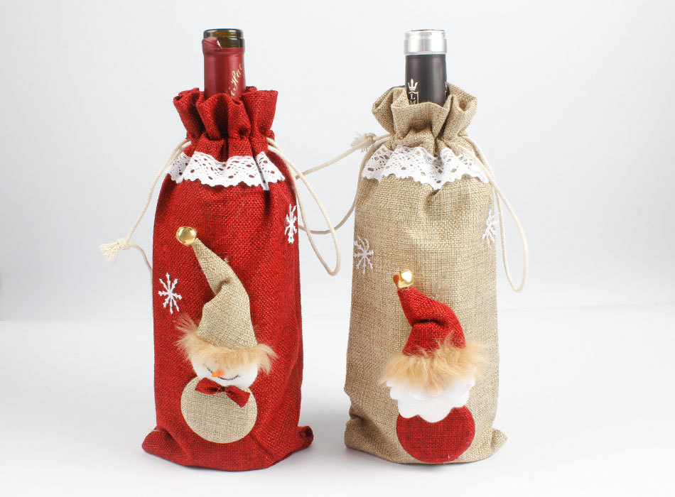New Lace Linen Wine Bottle Cover Bag Christmas Decorations For Home Xmas Party Dinner Table Decor Cute Snowman Gift Bottle Decor Stockings Gift Holders Aliexpress