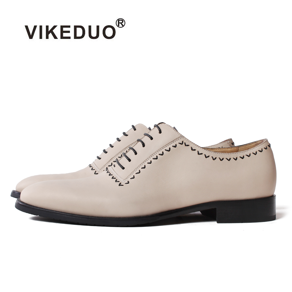 Vikeduo Men Handmade Oxford Dress Shoes Beige Genuine Cow Leather Lace-up Male Shoe Fashion Wedding Office Formal Zapato Hombre