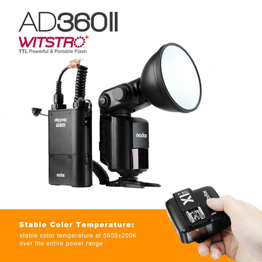 цена на Godox AD360 II Witstro AD360II-N TTL Camera Flash Speedlite for Nikon +PB960 Battery Pack + TTL Wireless Flash Trigger + Gift