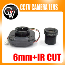 6mm 1080P HD lens + IR CUT Equipment M12 for Full HD CCTV Camera MTV Mount