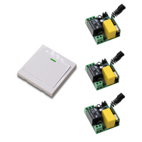 AC 220V 1CH Channel Remote Control Switch 3Pcs Receiver Wall Panel Transmitter Home Room Stairway Light