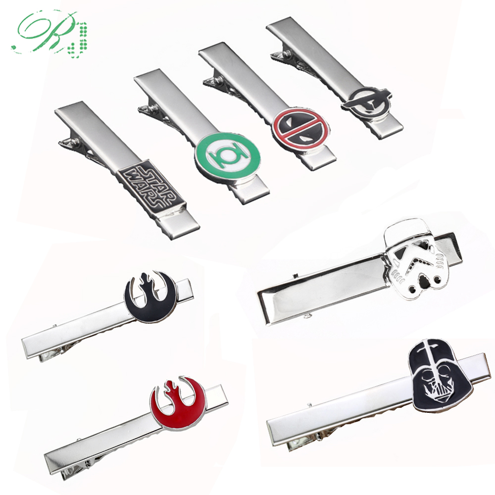 RJ New Avengers Endgame 4 Tie Clips Letter A Deadpool Star Wars Black Warrior Rebel Alliance Men Buttons Cufflinks Jewelry Gift