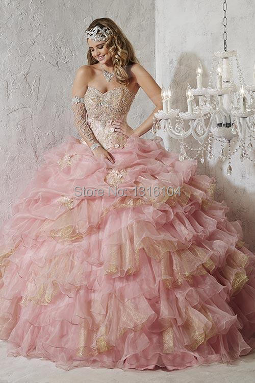 Aliexpress.com : Buy 2016 Cheap Pink Gold Quinceanera Dresses Plus ...