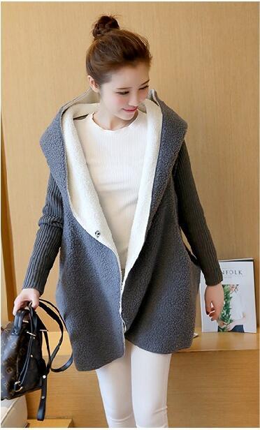 Euro 2016 autumn winter women sweater vintage fashion spliced button woolen thicken hooded sexy loose knitred