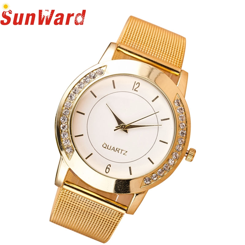 Relogio Feminino  Fashion Women Crystal Golden Stainless Steel Analog Quartz Wrist Watch Bracelet Free Shipping S08 fashion women crystal silver stainless steel analog quartz wrist watch bracelet relogio reloj pulsera de cuero z510 5down