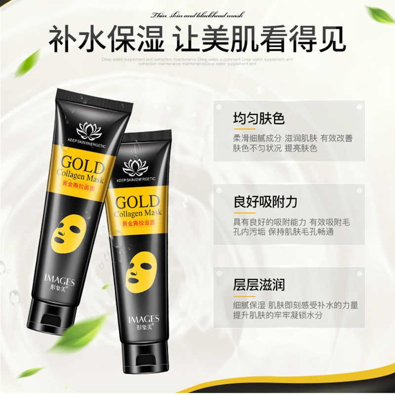 O colágeno do ouro descasca a máscara do rosto rasga o alvejante que endurece a pele anti rugas anti envelhecimento máscara facial cuidados com a cabeça preta