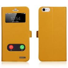8 цветов подлинная корова кожи крышки для iphone 6s plus вид окно флип case для iphone6 plus 5.5 »inner мягкие tpu магнитный закрыть