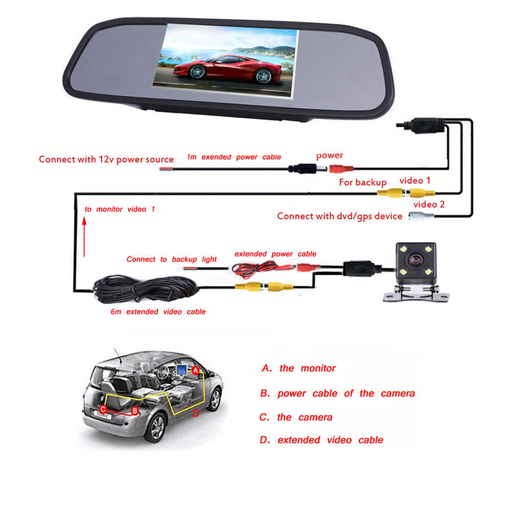 "Podofo 4.3"" Car Rearview Mirror Monitor Auto Parking System + LED Night Vision Backup Reverse Camera CCD Car Rear View Camera"