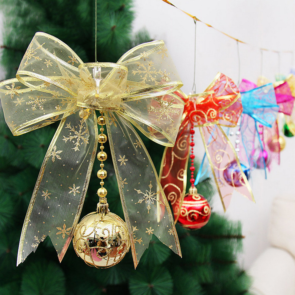 Christmas Tree With Mesh.Us 2 46 35 Off 1 Pcs Christmas Tree Pendant Christmas Tree Decoration Hanging Xmas Home Window Decoration Colorful Mesh Bow Ribbon L11019 In Pendant