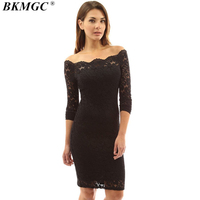 BKMGC 2017 New Arrive Sexy Women Dress Solid Straight Lace Women S Dresses Knee Length Regular