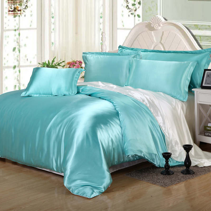 White Queen Bed 2016 Hot Silk Quilt White And Blue Satin Sheets Bed Linen