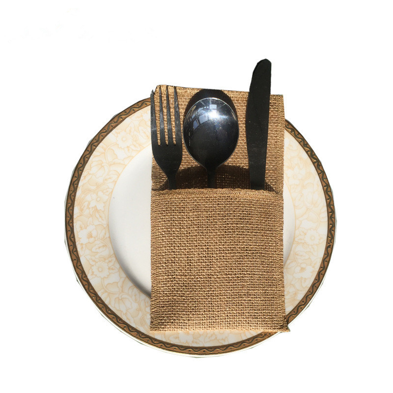 100pcs lot Rustic Burlap Cutlery Pocket Wedding Cutlery Pouch Jute Knife And Fork Pocket for mariage